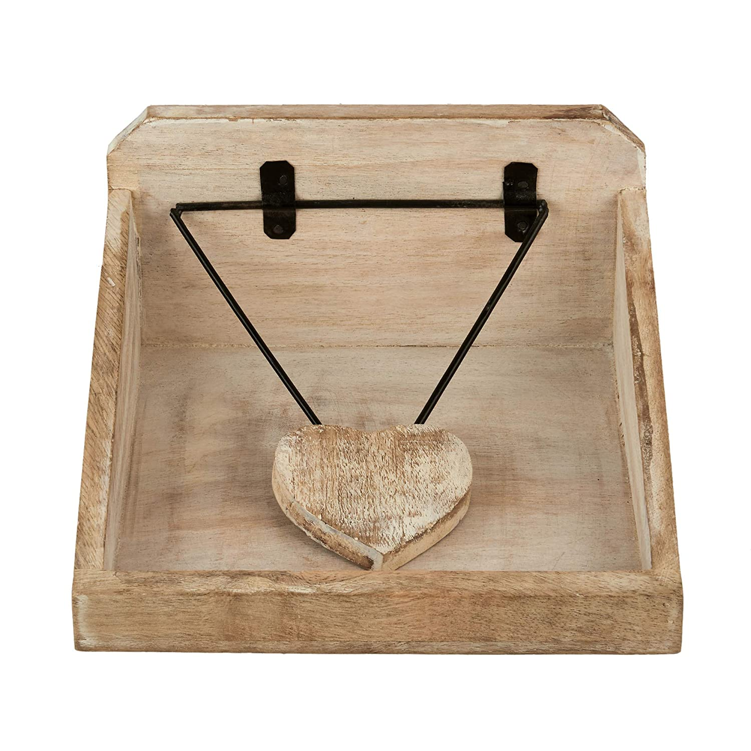 Office Dinning Kitchen Cocktail Party Tabletop Napkin Organizer for Farmhouse Shabby Chic Wood Napkin Holder Decorative Flat Paper Napkin Dispenser with Heart Shape Weight Arm