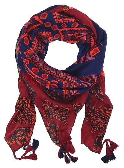 1e1e82ff352f Ella Jonte Foulard Écharpe triangle femme élégant et tendance de la  dernière collection rouge bleu coton