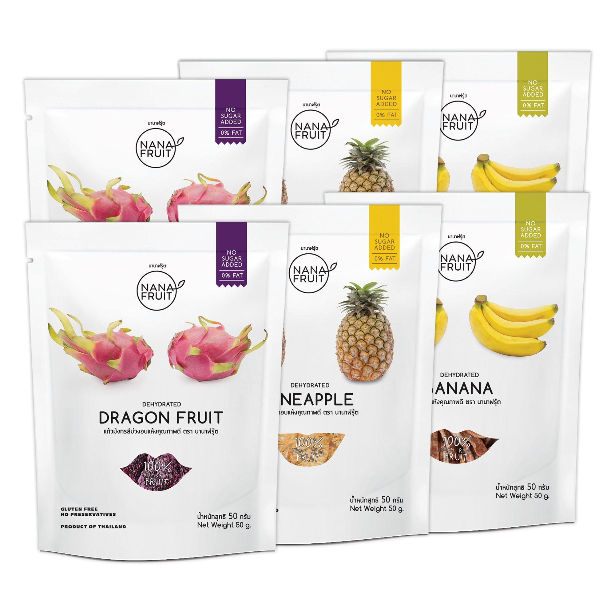 Nana Fruits Dried Dragon Fruit Pack 50g. (2 Pack) Pineapple Pack 50g. (2 Pack) and Banana Pack 50g. (2 Pack)