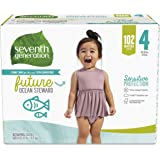 Seventh Generation Baby Diapers, Size 4, 102 Count, Giant Pack, for Sensitive Skin