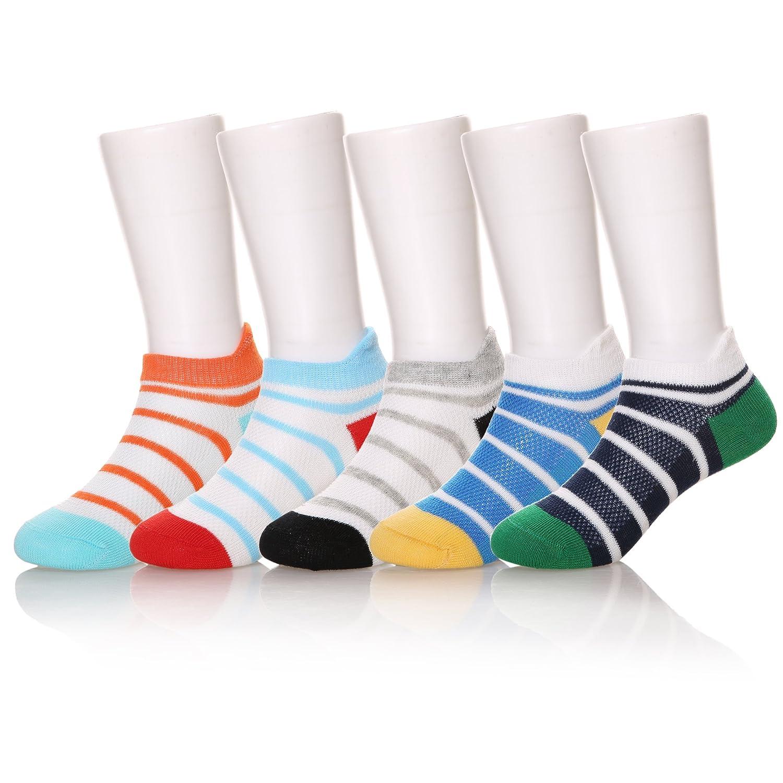 Eocom 5 Pack Kids Girls Boys Low Cut Cotton Soft Breathable Socks