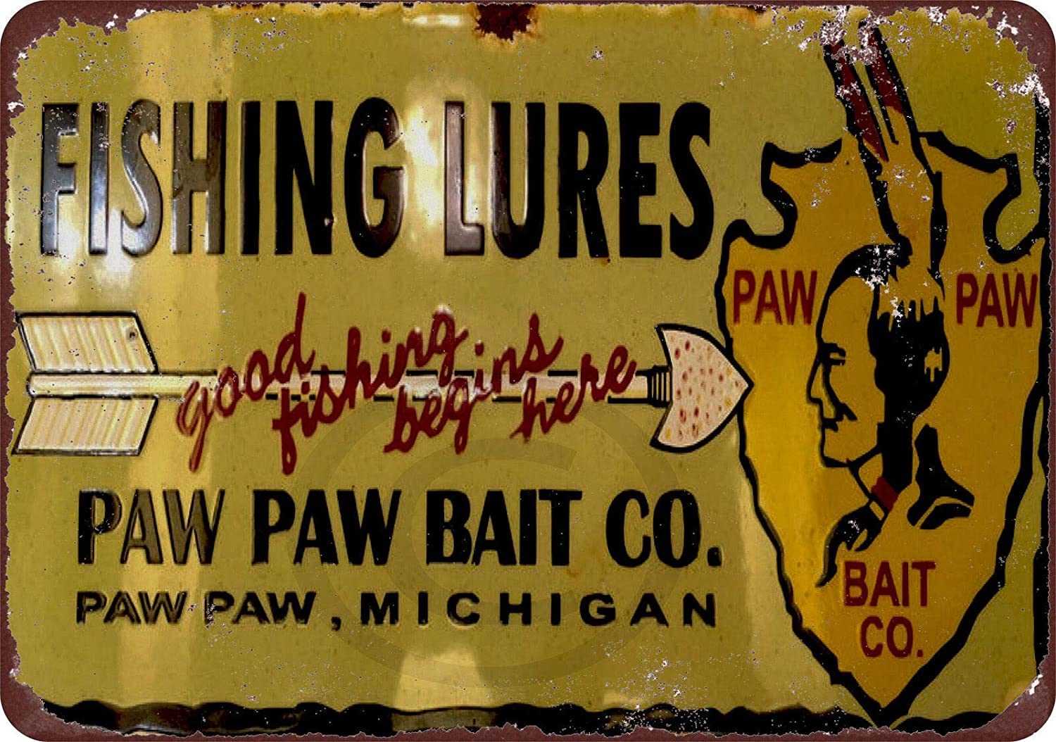 HomDeo Novelty Retro Barber Shop Decor Art Metal Signs Vintage Farm Paw Paw Bait Co. Fishing Lures Tin Sign 8 x 12 Inches Basement Wine Cellar