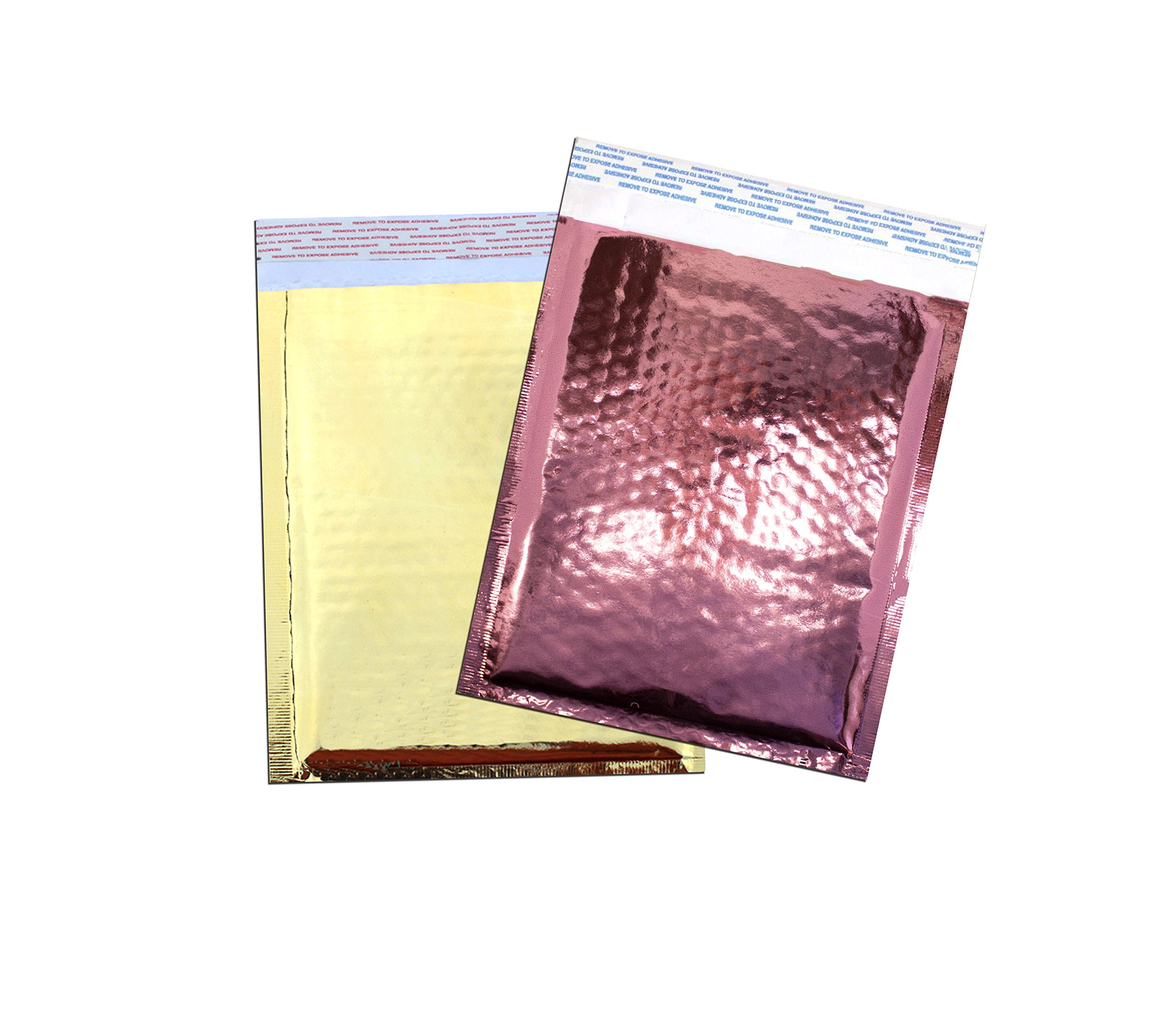 6'' x 10'' MIRRORED Metallic Foil BUBBLE Mailers Size#0 Padded Shipping Bags (20 Lot, Gold & PInkRose)