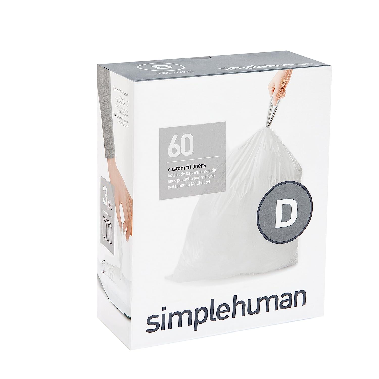 simplehuman Code D Custom Fit Trash Can Liner, 3 refill packs (60 Count), 20 Liter/5.2 Gallon