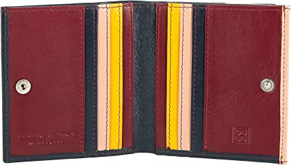 Small multicolour leather billfold wallet with coin purse DUDU Red