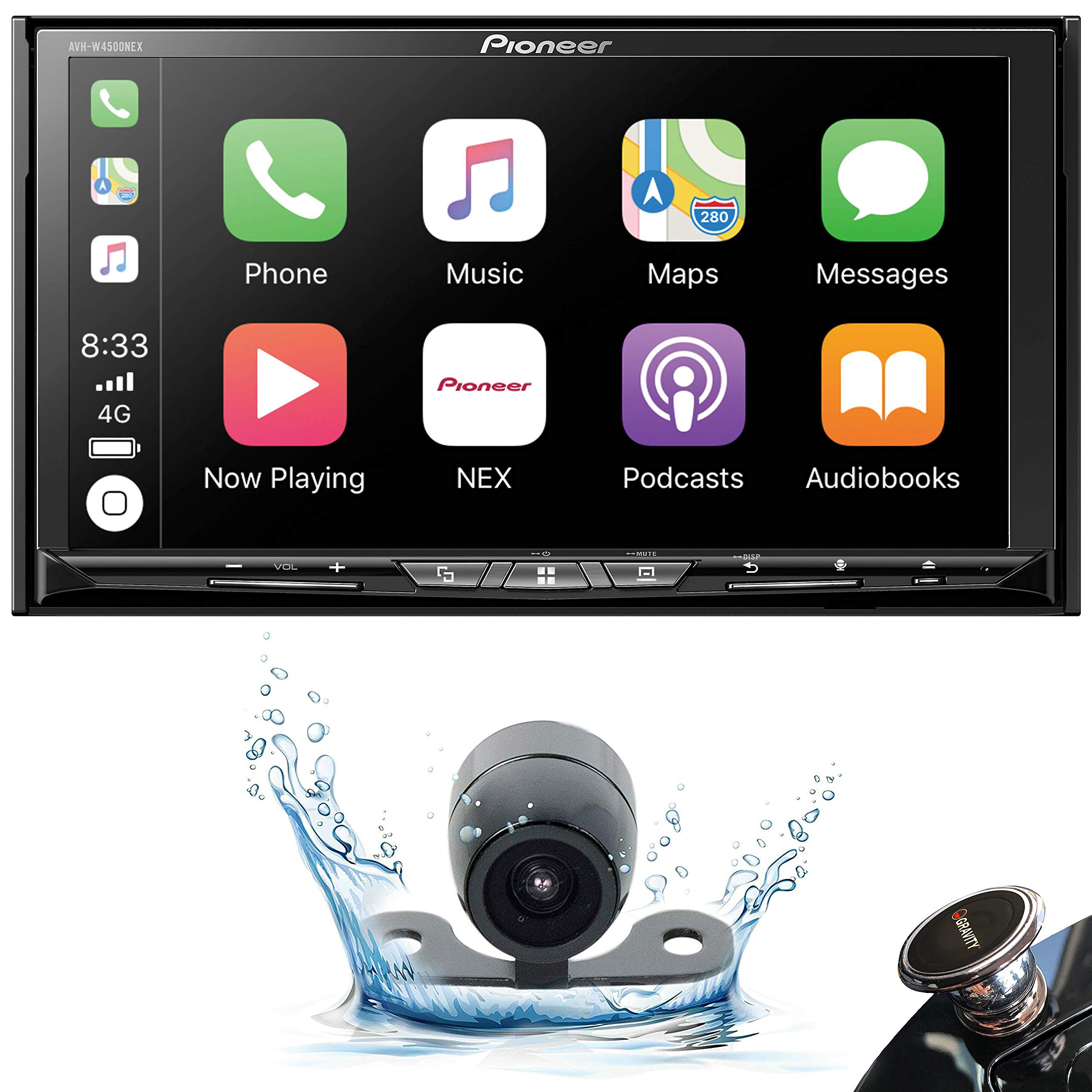 Pioneer AVH-W4500NEX Double DIN Wireless Mirroring Android Auto, Carplay in-Dash DVD/CD Car Stereo Receiver, 7'' Touchscreen + Backup Camera + Mobile Phone Holder by PIONEER