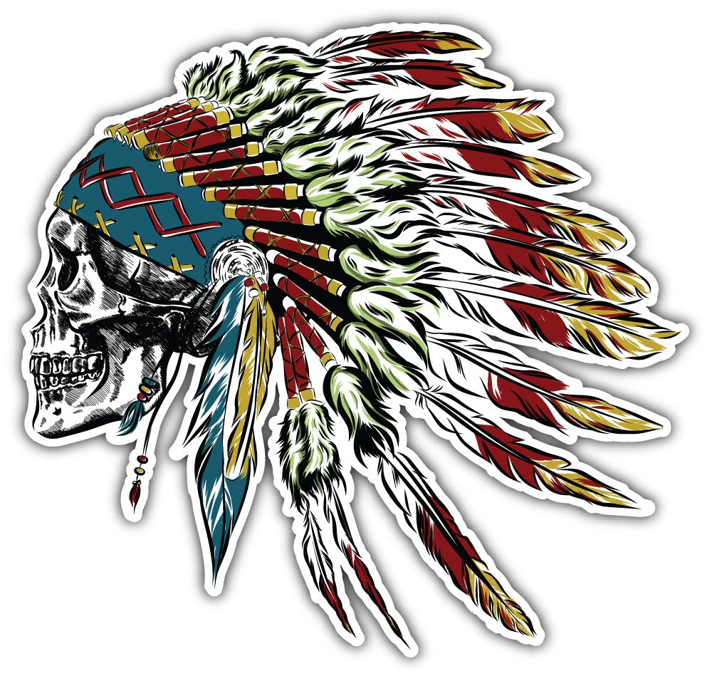 Native American Indian Feather Bumper Sticker Vinyl Art Decal for Car Truck Van Window Bike Laptop