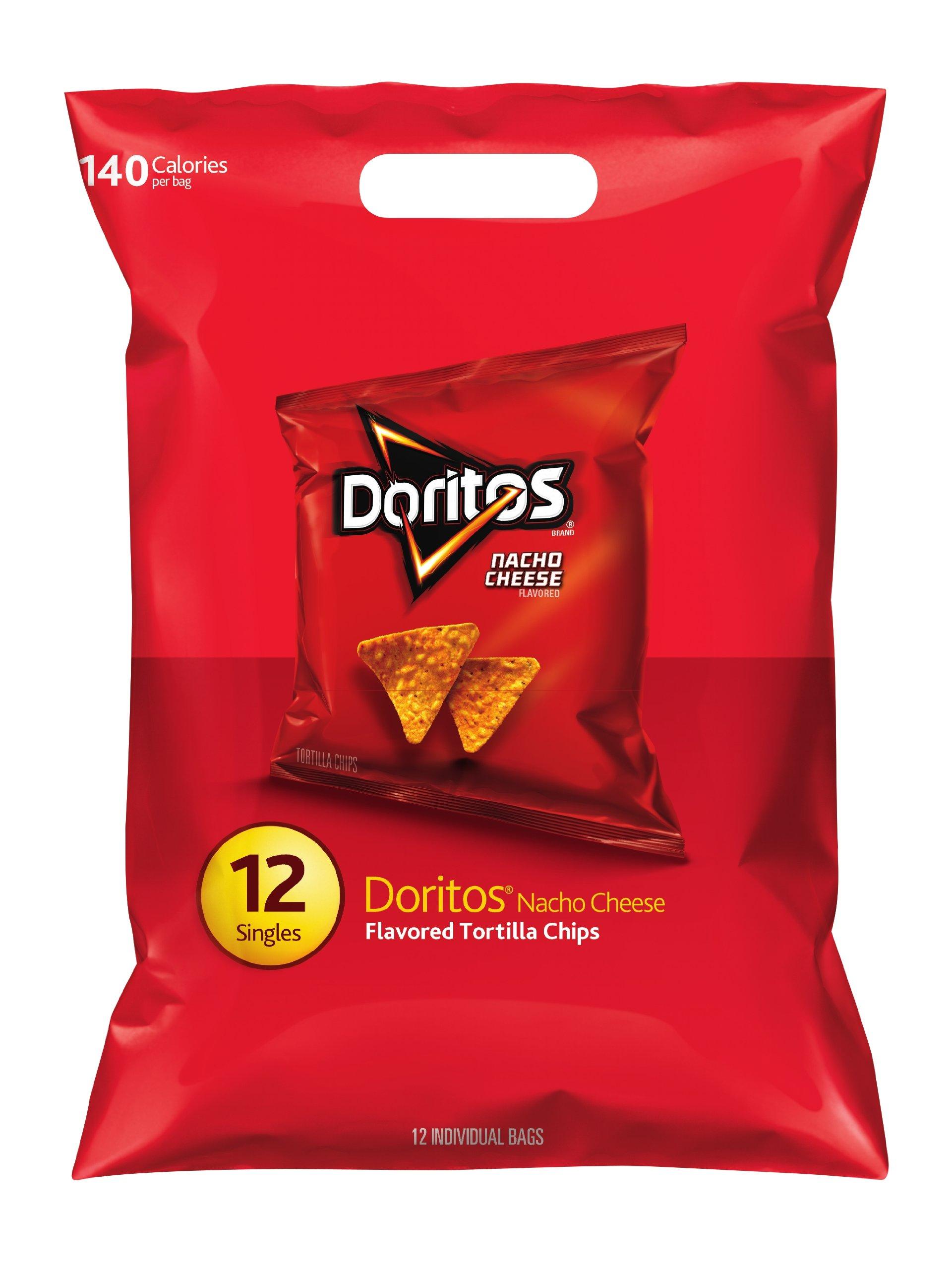Doritos Nacho Cheese Flavored Tortilla Chips, 12 Singles