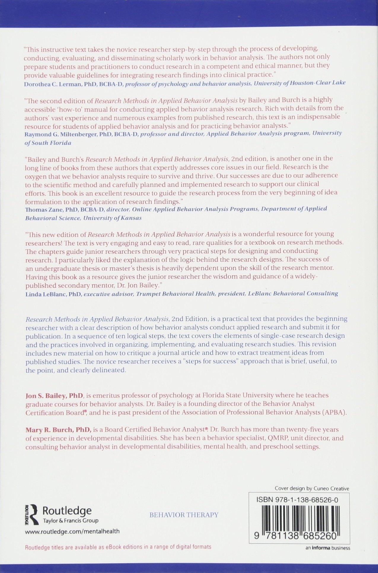 Research Methods In Applied Behavior Analysis Amazon Jon S
