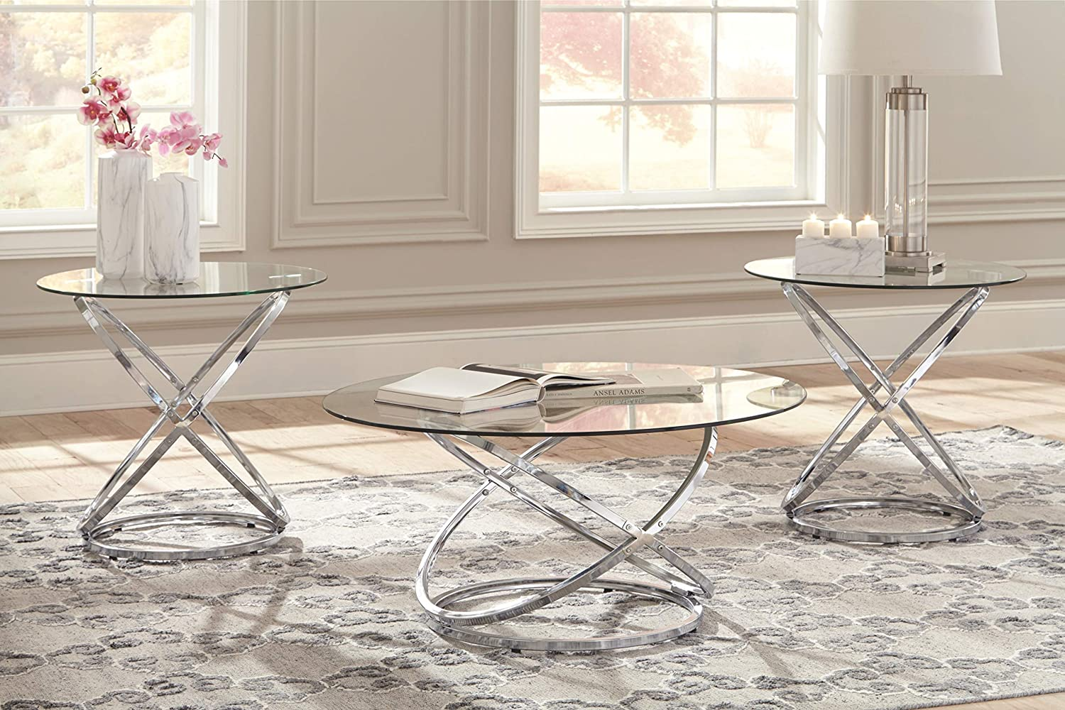 Includes Cocktail Table /& 2 End Tables Frostine Contemporary 3-Piece Occasional Table Set Ashley Furniture Signature Design Dark Bronze Finish