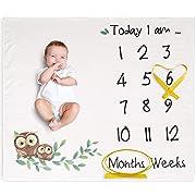 Newborn Monthly Milestone Blanket by Ola Boutique: Photo Posing Background Blanket | Ultra-Soft Thick Fleece | Large 120x100 cm Size | Bonus 4 Double-Sided Cards Set | Unisex Baby Shower Gift