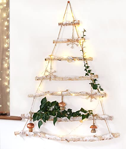 Snowy Branch Birch Wood Hanging Christmas Tree Ladder Wooden Wall