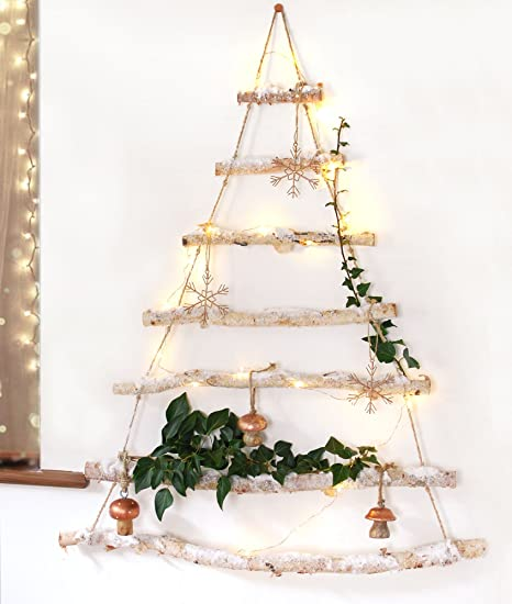 snowy branch birch wood hanging christmas tree ladder wooden wall decoration