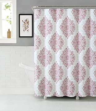 Tranquility Cotton Rich Fabric Shower Curtain With Medallion Design  (Blush White Beige)
