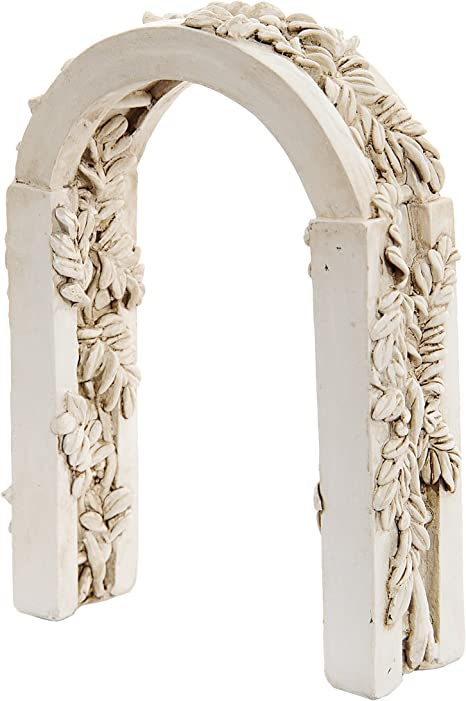Darice Fairy Garden Accessories Ivory Resin Fairy Arch With Ivy Carvings