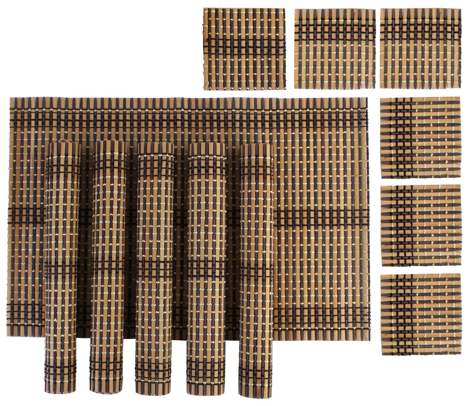 Bamboo Dinner Table Kitchen Placemats U0026 Tea Coasters Set, 6 Pieces Each:  Amazon.in: Home U0026 Kitchen