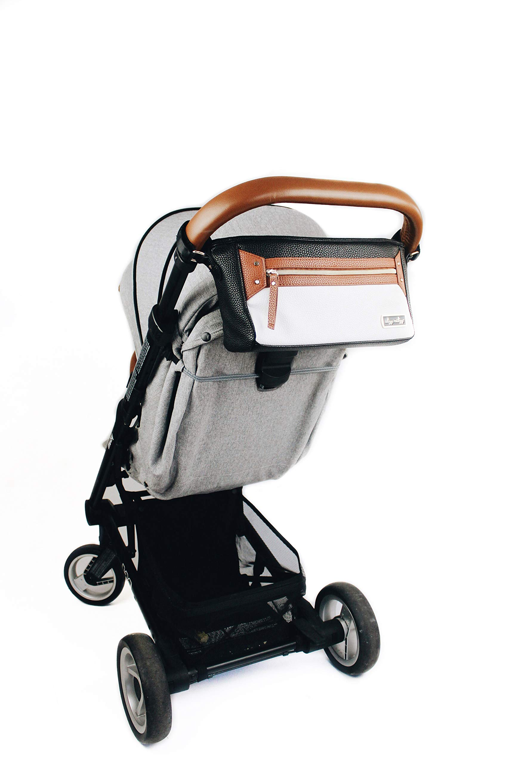 Itzy Ritzy Adjustable Stroller Caddy - Stroller Organizer Featuring Two Built-in Pockets, Front Zippered Pocket and Adjustable Straps to Fit Nearly Any Stroller, Coffee and Cream by Itzy Ritzy (Image #7)