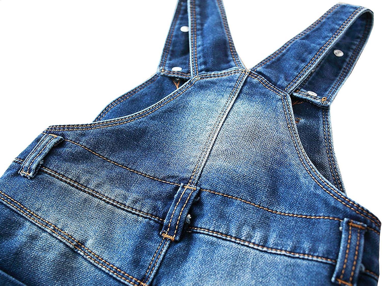 Kidscool Space Girls Big Bib Pocket Pearl Pendants Ripped Fashion Denim Overalls