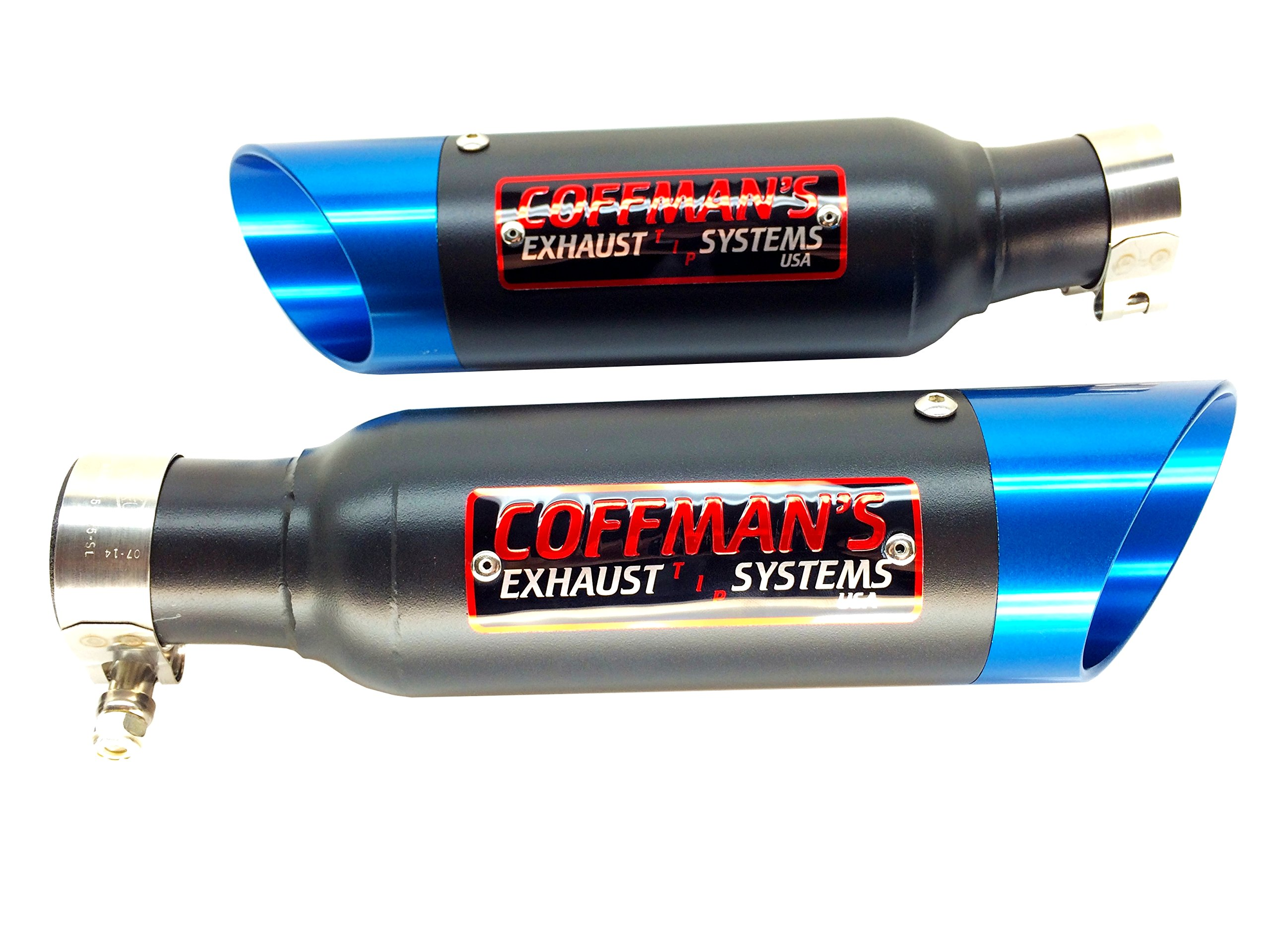 Coffman's Twin Shorty Exhausts for Suzuki Hayabusa GSXR1300 (1999-07) Sportbike with Blue Tips