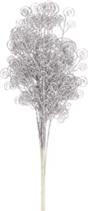 Sea Team 12-Pack Glitter Stem Ornaments, Decorative Curly Sticks, Glittery Twigs, Picks, Branches for Christmas Tree, Small Vase, Holiday, Wedding, Party (27 Inches, Silver)
