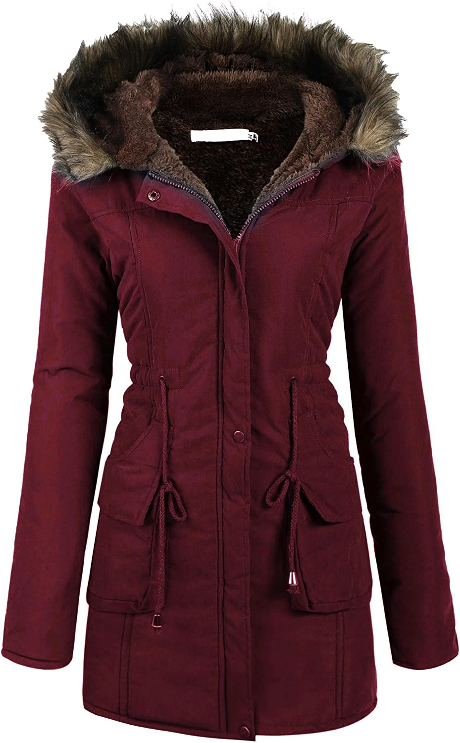 Beyove Womens Hooded Warm Winter Coats with Faux Fur Lined Outerwear Jacket: Clothing