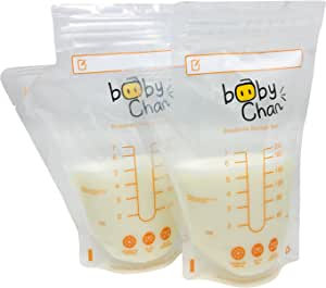 Baby Chan Breast Milk Storage Bags, 200ml 100pk (Convenient Pour Spout, Pre-sterilised and BPA Free)