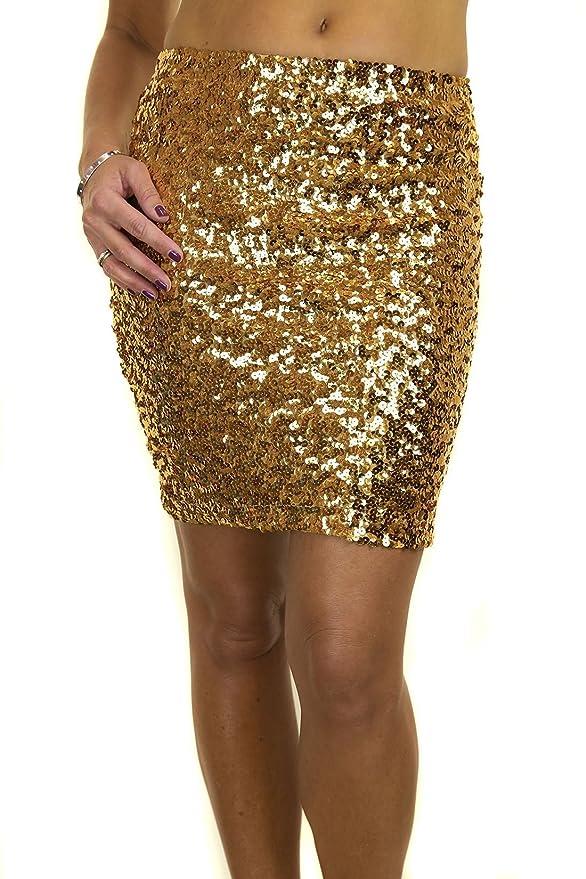 Minifalda elastica cubierta de lentejuelas ideal para asistir a fiestas.