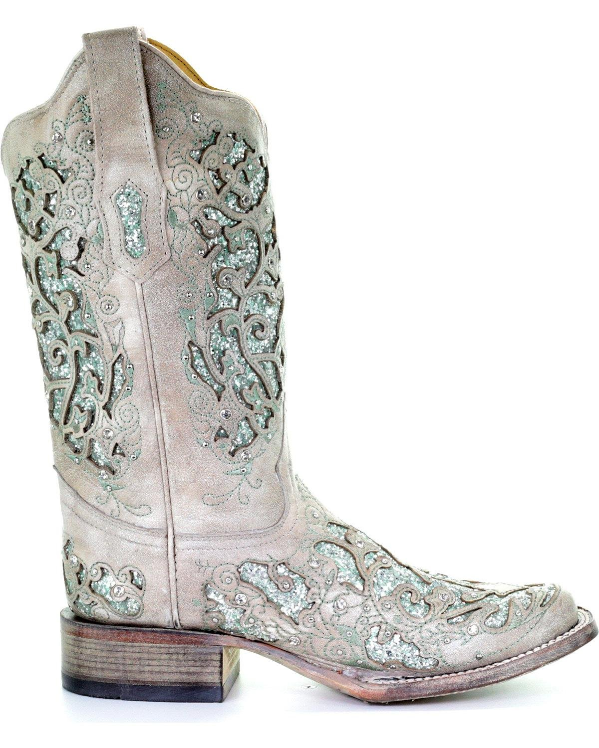 CORRAL Women's Glitter and Crystals Cowgirl Boot Square Toe - A3435 B07B6B3WWL 8 B(M) US|White