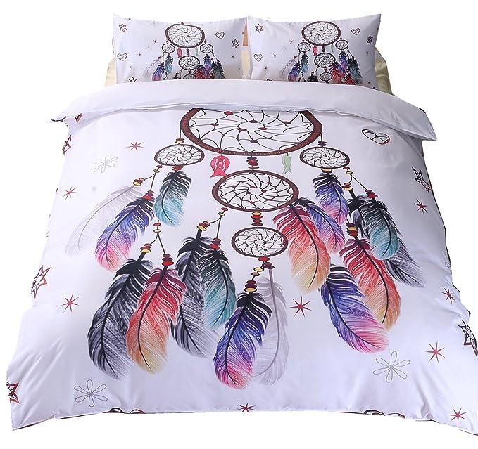 Amazon.com: Ningkotex Dream Catcher Feathers Bedding Set Watercolor Bohemian Galaxy Duvet Cover 3 Pieces Set US King Queen Twin Size (Twin, ...