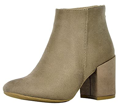 Women's Classic Closed Toe Chunky Block Heel Ankle Bootie
