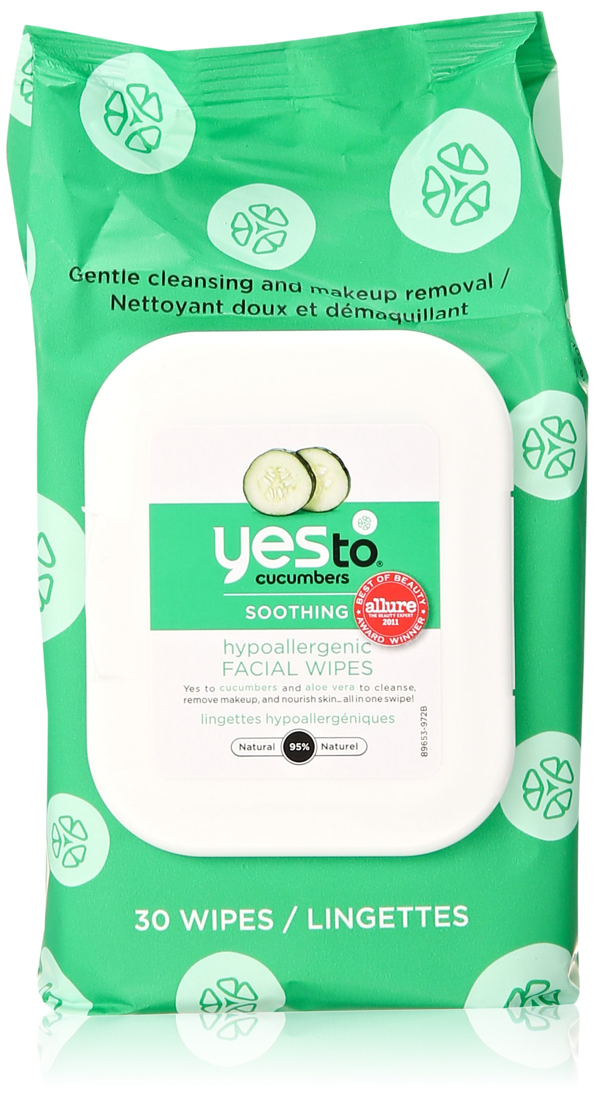 Yes to Cucumbers Soothing Hypoallergenic Facial Wipes 30 ea (Pack of 3) 100% Pure Organic Coconut Body Scrub (16oz/473g)