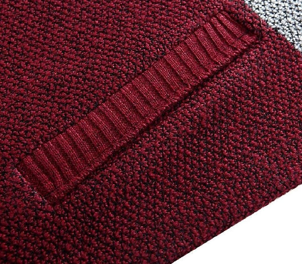 willwinMen WillingStart Mens Full-Zip Color Conjoin Jersey Thick Knit Cardigan Sweaters