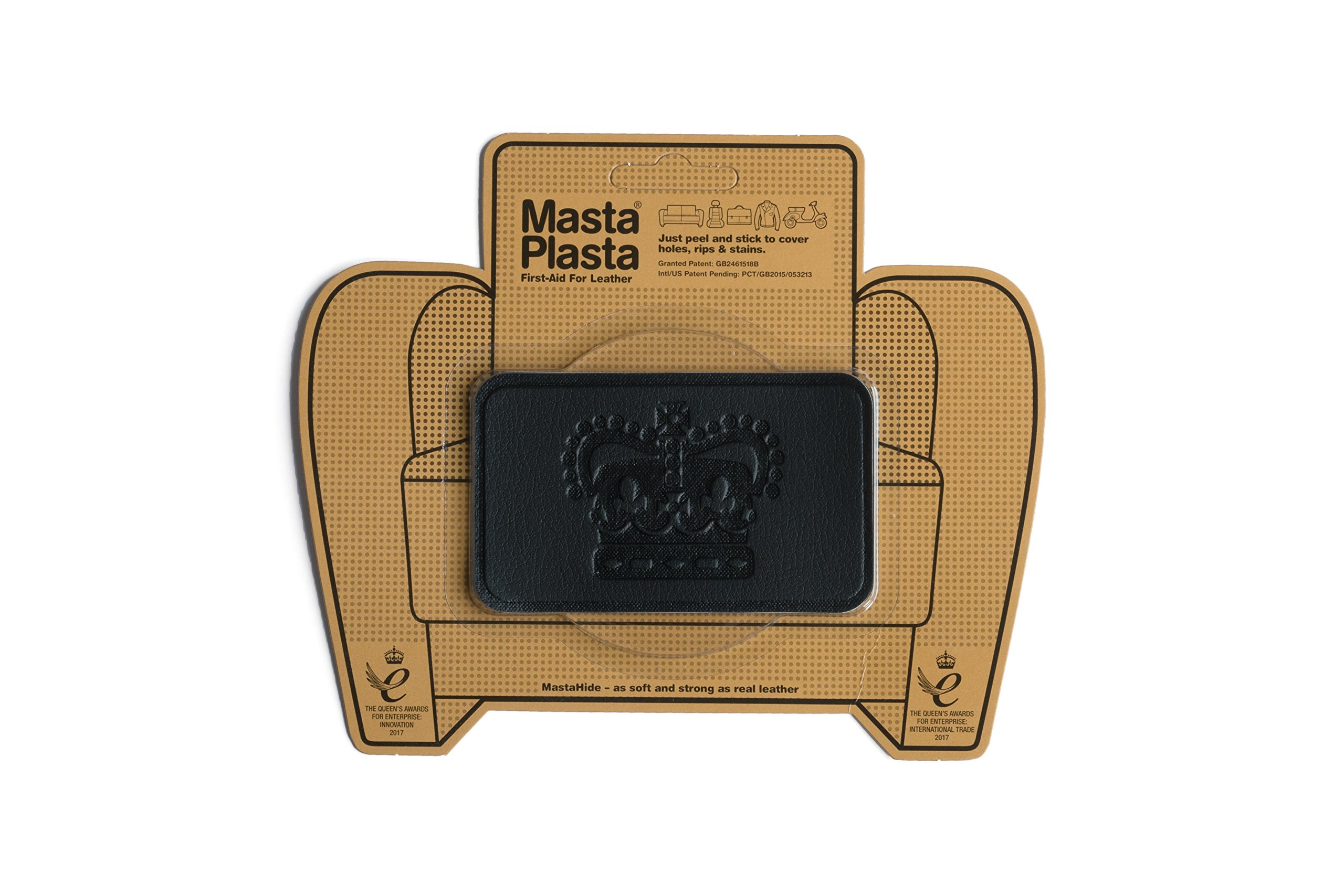MastaPlasta, Leather Repair Patch, First-aid for Sofas, Car Seats, Handbags, Jackets, etc. Black Color, Crown 4-inch by 2.4-inch, Designs Vary