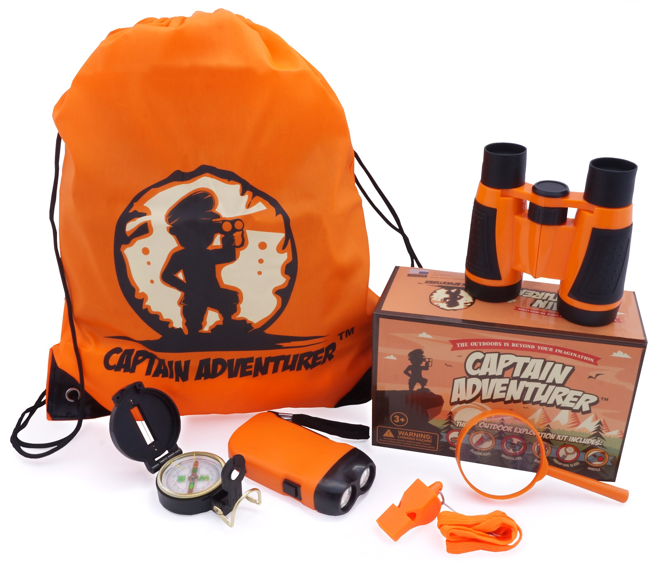 Outdoor Explorer Kit for Adventure Kids | Toys Binoculars, Flashlight, Compass, Magnifying Glass, Whistle & Backpack. Summer Kidz Gift Set for Boys & Girls, Camping, Hiking, Educational & Pretend Play by Captain Adventurer