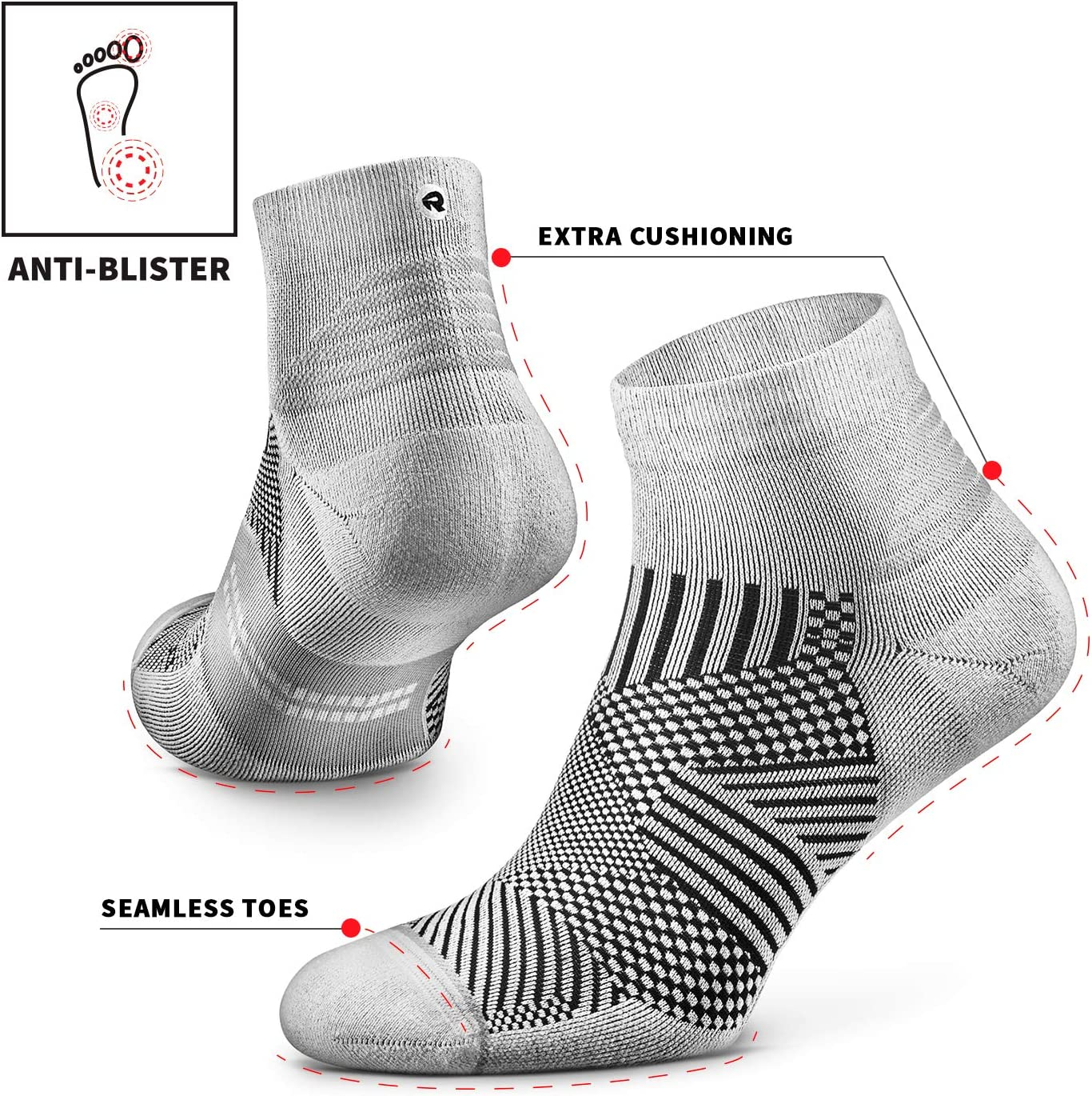 Anti-Odor 1 Pair 100/% Recycled Cushion Rockay Flare Running Socks for Men and Women Quarter Cut Arch Support
