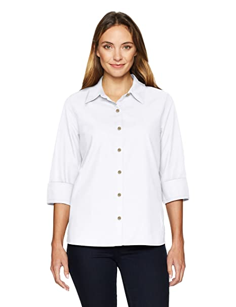 0538d647b Chic Classic Collection Women s Button Front 3 4 Sleeve Woven Shirt-Solid  at Amazon Women s Clothing store