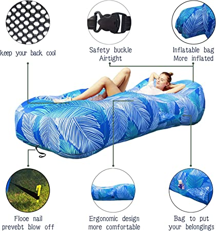 BZ Inflatable Lounger Inflatable Lounger for Adults Air Couch for Water Proof/& Anti-Air Leaking Design-Ideal Couch Cool Stuff for Home Backyard Lakeside Beach Traveling Camping Hiking