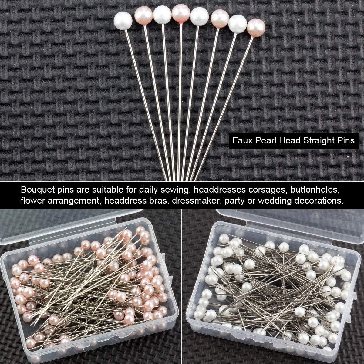 HNBun 200 PCS 2.5 Long Straight Pins Round Headed Pins Corsage Pins Bouquet Pins Ball Head Pins Flower Pins for DIY Sewing Crafts 100 PCS Each of White Pink