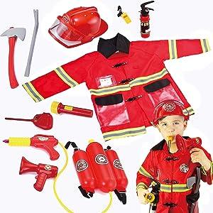 JOYIN Toy Kids Fireman Fire Fighter Costume Pretend Play Dress-up Toy Set