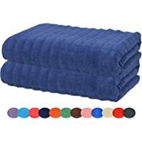 Sweet Needle - Pack of 2 - Zero Twist Bumpy Ribbed Bath Towel in Assorted Colours - Size 76 x 137 Centimeters - Luxury Soft 100% Zero Twist Cotton, Heavy Weight & Absorbent - Colours May Vary