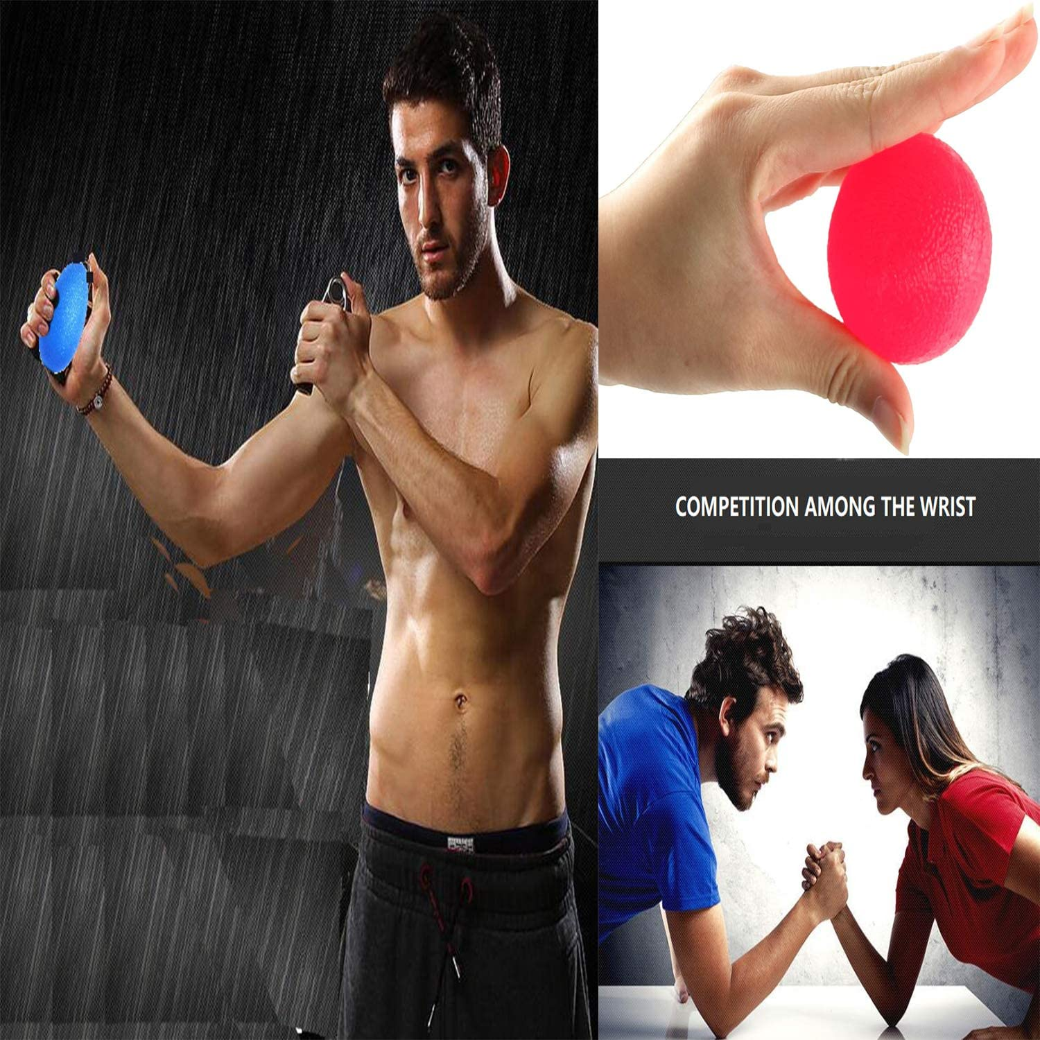 Physical Rehabilitation /& Grip Strengthener /& Stress Relief Hand Grip Strengthener Balls,Silicone Massage Therapy Grip Balls,3 Different Strengths for Children Set of 3 Adults,Seniors