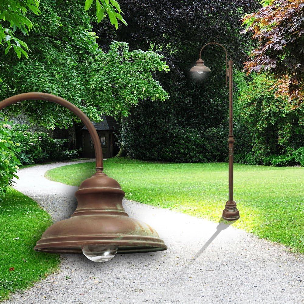 Mia Light Lámpara farola ↥ 3080 mm/Antiguo/Marrón/Bronce/latón/exterior mástil mano apuntando lámpara exterior lámpara de proyección – Lámpara de exterior jardín jardín mástil lámpara farola (wegelampe poste: Amazon.es: Iluminación