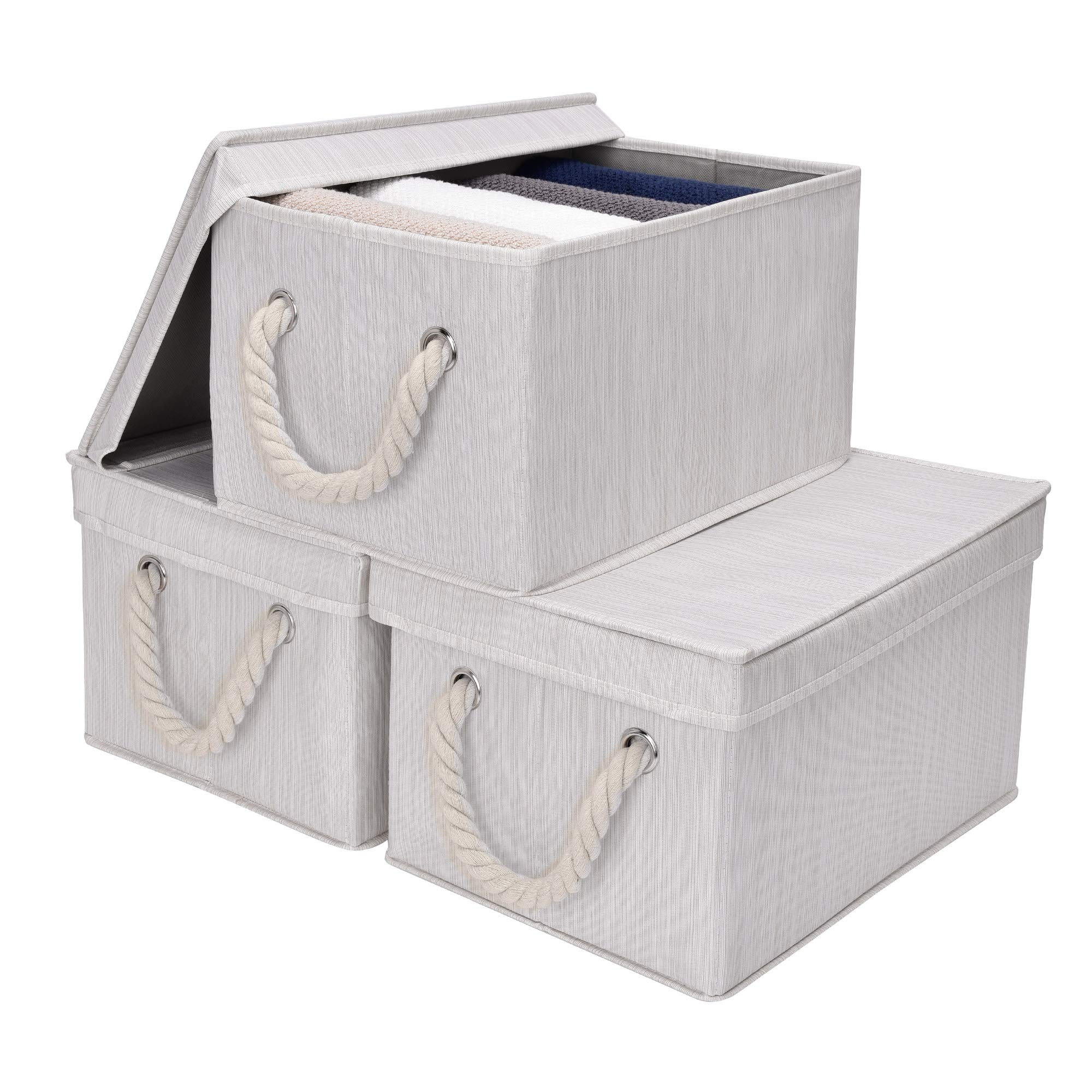 StorageWorks Storage Bins with Lids, Decorative Storage Boxes with Lids and Cotton Rope Handles, Mixing of Beige, White & Ivory, Large, 3-Pack by StorageWorks
