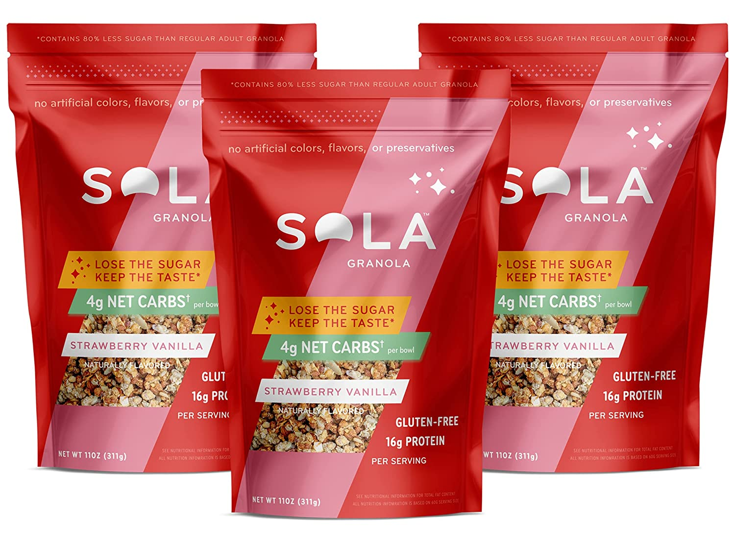 Sola Low Carb & Keto Friendly Granola, Strawberry Vanilla - Low Sugar, Naturally Flavored, Gluten Free & No Artificial Colors, Flavors or Preservatives, 11 OZ Pouch (Pack of 3)