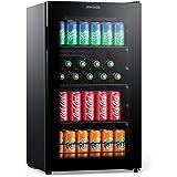 Miroco Beverage Refrigerator Cooler Beer Fridge, Drink Fridge with 3 Layer Glass Door, Removable Shelves, Touch Control, Digi
