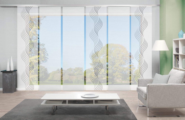 Wohnfuehlidee 6er-Set Flächenvorhang in Bambus-Optik, Sandra, Höhe 245 cm, 2X Dessin grau   4X Uni weiß, Halbtransparent