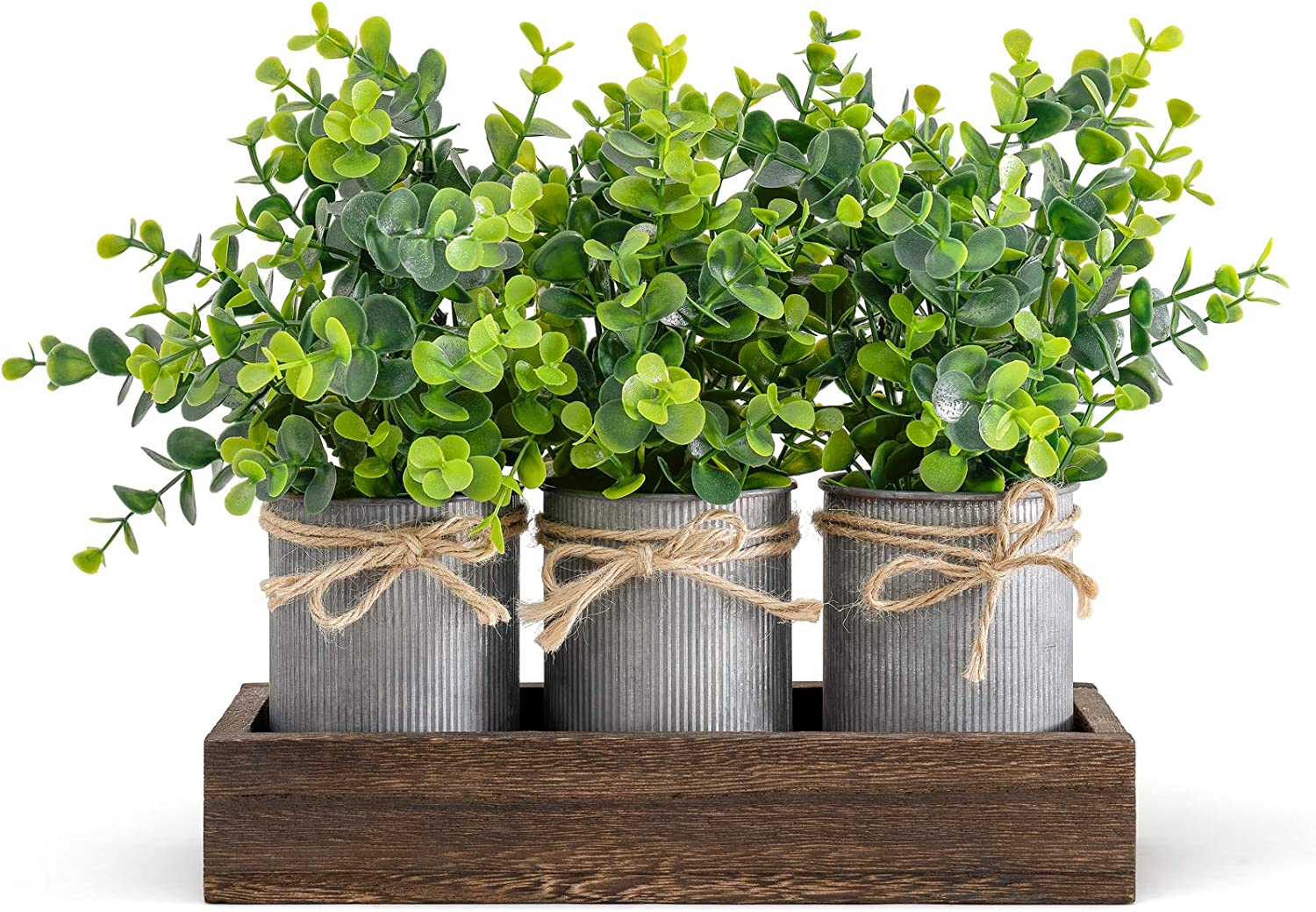 Dahey Decorative Galvanized Metal Pots Centerpiece Decor Wood Tray with Artificial Flowers, 3 Buckets with Eucalyptus, Rustic Farmhouse Home Decor for Coffee Table Dining Room Living Room Kitchen Bath, Brown
