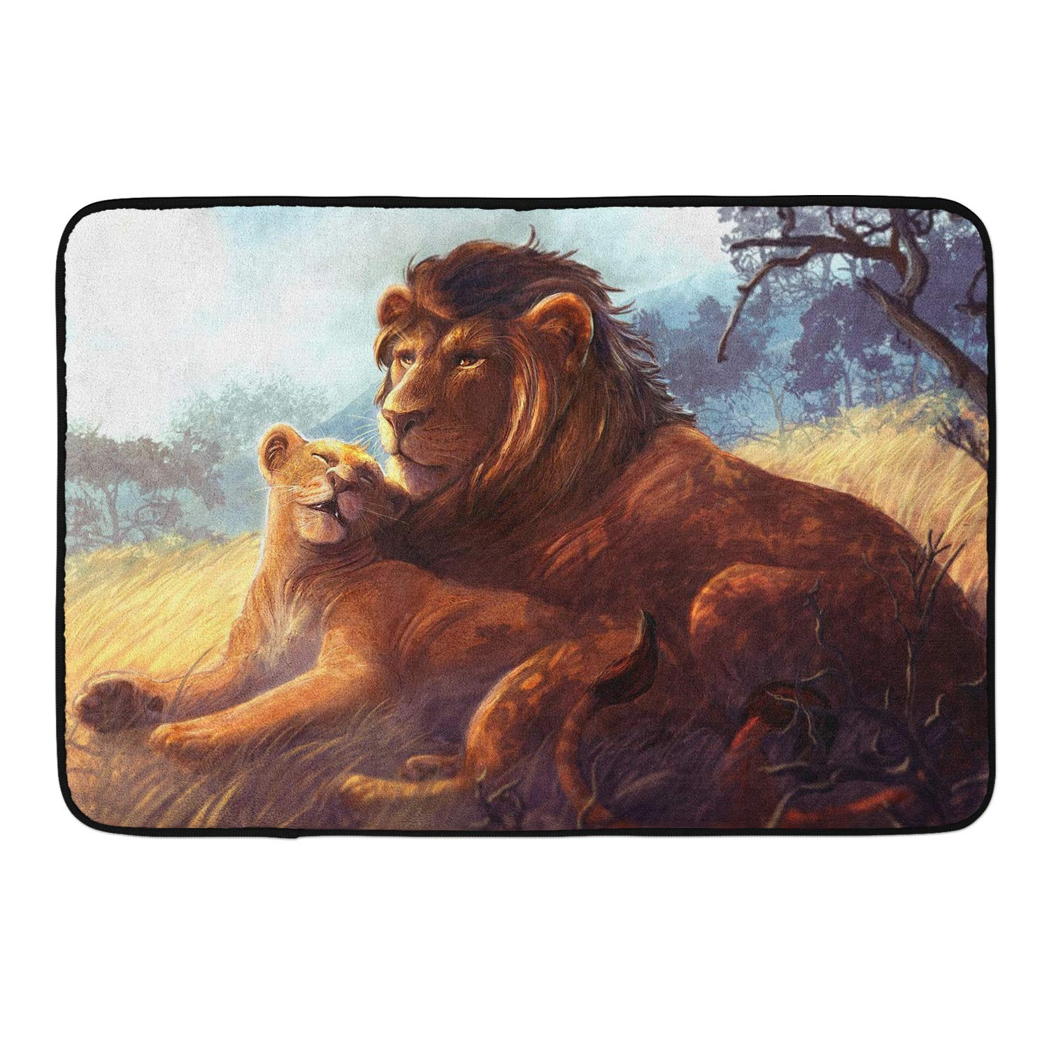 CIGOCI Anti-Slip Memory Foam Bath Mat Shower Rugs - Lion Fall in Love - 18 x 36 Inch Absorbent Quick-Dry Floor Mat Carpets Home Decor Bathroom Tub Kichen Rugs by CIGOCI (Image #1)