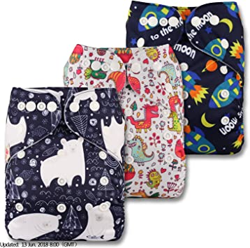Littles /& Bloomz with 1 Microfibre Insert Set of 1 Fastener: Popper Pattern 98 Reusable Pocket Cloth Nappy