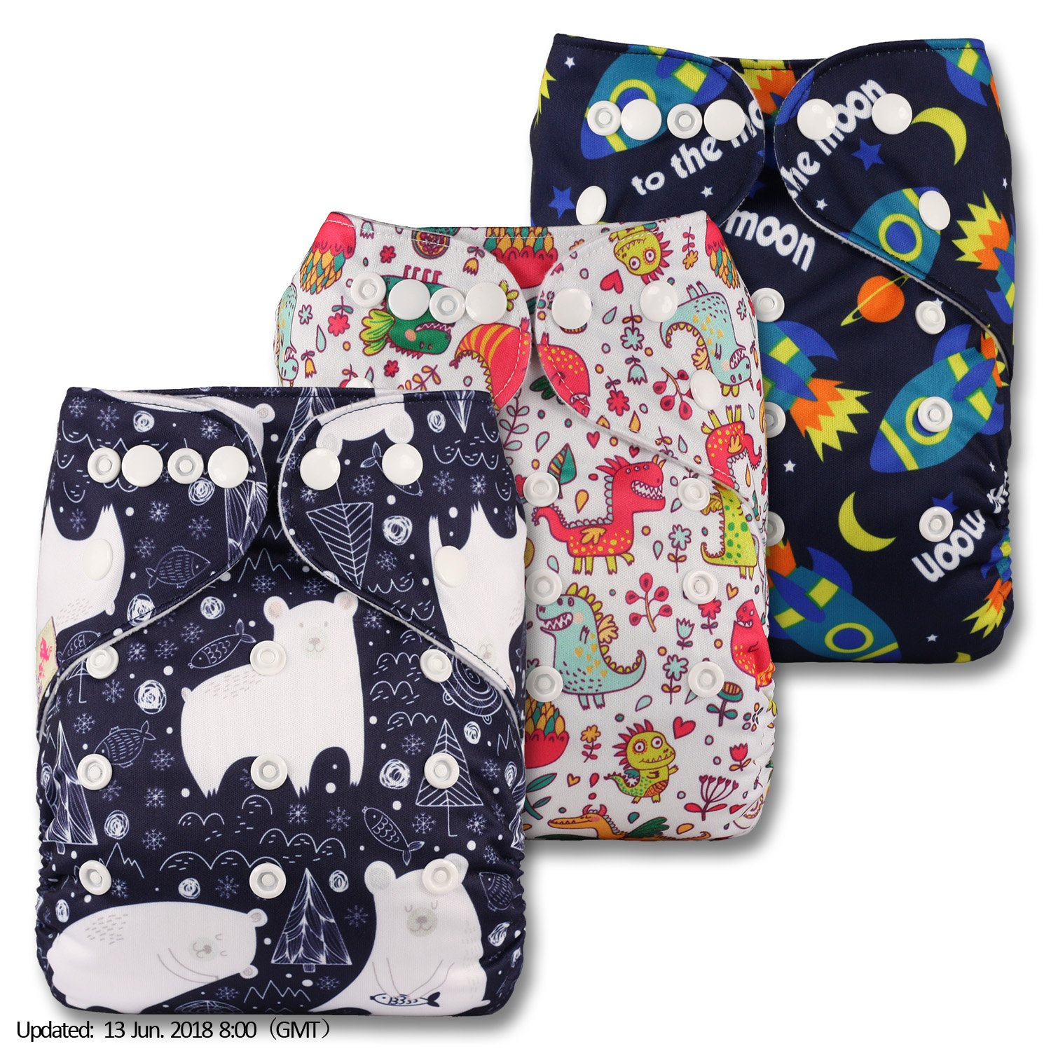 Reusable Pocket Cloth Nappy with 24 Bamboo Inserts Patterns 1207 Set of 12 Littles /& Bloomz Fastener: Popper